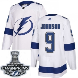 Men Adidas Tampa Bay Lightning 9 Tyler Johnson Premier White Home NHL Stitched 2021 Stanley Cup Champions Patch Jersey
