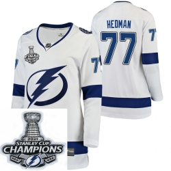 Women Adidas Tampa Bay Lightning 77 Victor Hedman Premier White Home NHL Stitched 2021 Stanley Cup Champions Patch Jersey
