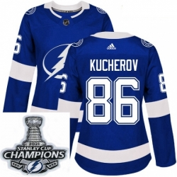 Women Adidas Tampa Bay Lightning 86 Nikita Kucherov Authentic Royal Blue Home NHL Stitched 2021 Stanley Cup Champions Patch Jersey