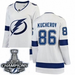 Women Adidas Tampa Bay Lightning 86 Nikita Kucherov Authentic White Home NHL Stitched 2021 Stanley Cup Champions Patch Jersey