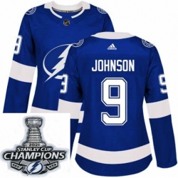 Women Adidas Tampa Bay Lightning 9 Tyler Johnson Premier Royal Blue Home NHL Stitched 2021 Stanley Cup Champions Patch Jersey