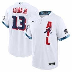 Men's Atlanta Braves #13 Ronald Acuña Jr. Nike White 2021 MLB All-Star Game Replica Player Jersey
