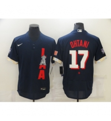 Men's Los Angeles Angels of Anaheim #17 Shohei Ohtani Navy 2021 MLB All-Star Game Authentic Jersey