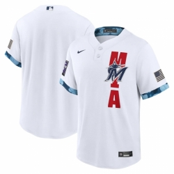 Men's Miami Marlins Blank Nike White 2021 MLB All-Star Game Replica Jersey