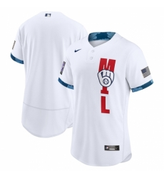 Men's Milwaukee Brewers Blank Nike White 2021 MLB All-Star Game Authentic Jersey