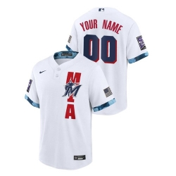 Men's Miami Marlins Custom #00 White 2021 MLB All-Star Game Jersey