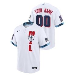 Men's Milwaukee Brewers Custom #00 White 2021 MLB All-Star Game Jersey