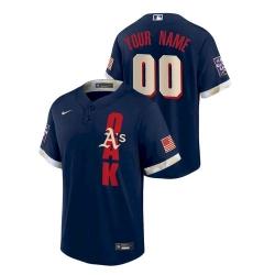 Men's Oakland Athletics Custom #00 Navy 2021 MLB All-Star Game Jersey