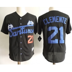 NCAA Film Jersey Clemente 21 Black Stitched Jersey